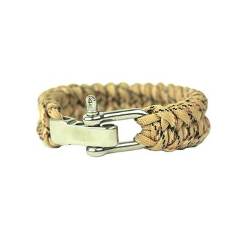 Adjustable Paracord Survival Bracelet, Fits 7-9 Inch Wrist , Yellow