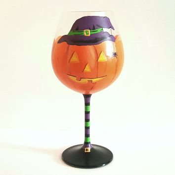 Pumpkin witch Halloween themed wine glass, high quality glass, Halloween wine glass, halloween decorated wine glasses, wine glass gift