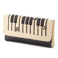 Piano Keyboard Musical Notes Shaped Bi Fold Clutch Long Wallet for Women in Cream and Black