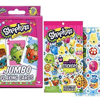 "Shopkins ""Once you Shop, You Can't Stop"" Kids Jumbo Card Game Plus Bonus Shopkins Imaginative Play Collectable Sticker Book!"