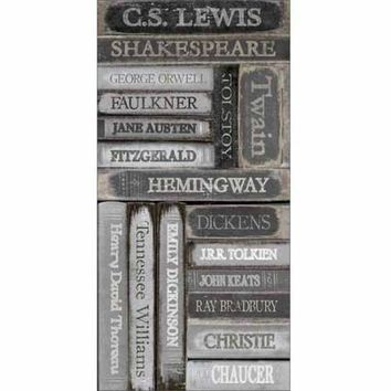 Distressed Famous Classic Author Book Spines Black & White Canvas Art by Pied Piper Creative - Walmart.com