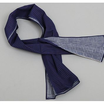 Overprinted Gingham Small Scarf