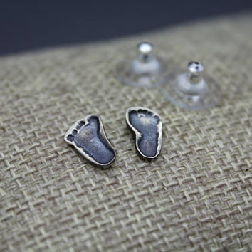footprint jewelry - footprint earring - mom earring - mommy jewelry - footprint - silver footprint - memorial jewelry - baby foot - mom