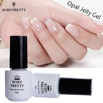 1 Bottle 5ml Opal Jelly Gel White Soak Off Manicure Nail Art UV Gel Polish