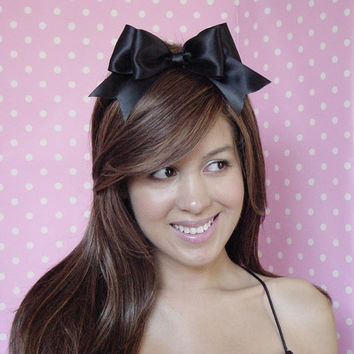 Alice In Wonderland Bow Black Hair Bow HEADBAND Bow Alice halloween costume Women Teens Girls Pin Up Sexy Sweet Inspired Satin Ribbon bow