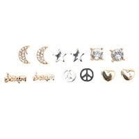 With Love From CA 6 Pack Peace Dream Moon Earring Set at PacSun.com