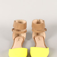 Qupid Pointer-40 Two Tone Ankle Strap Pointy Toe Flat