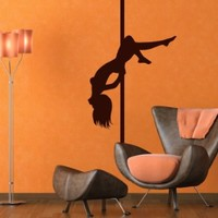 Wall Decal Vinyl Sticker Modern Pole Dance Salon Beautiful Woman Pilon V361
