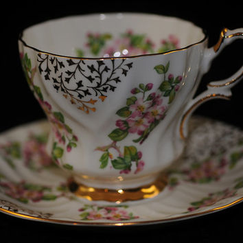 """Queen Anne Bone China Cup and Saucer Made in England  """" Cup o' Tea  Cup of Coffee  Collectible"""