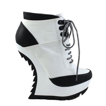 Liliana Ravey-13 Black & White Lace Up Anti Gravity Bootie Curved Wedges