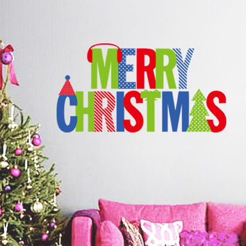 merry christmas quotes wall stickers christian room home decoration 16. diy vinyl xmas decals festival mural art posters 5.0 SM6