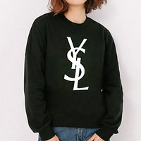 YSL Autumn And Winter Fashion New Letter Print Women Men Keep Warm Long Sleeve Sweater Top Black
