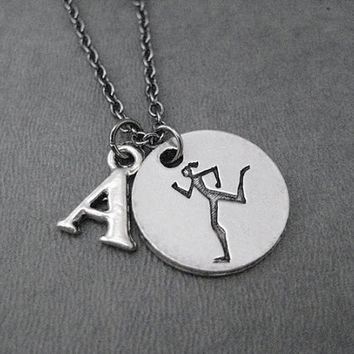 RUNNER GIRL Round Pendant with INITIAL Necklace - The Run Home's Running Girl Charm plus Personalized Initial - Initial Running Necklace