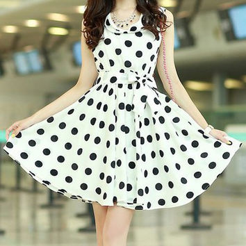 White Polka Dot Print Ruffled Chiffon Dress