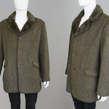 Vintage 60s Coat DUNN & Co Wool and Cashmere Coat Mens Wool Coat Faux Fur Collar Mens Overcoat Car Coat Mod Coat 1960s Coat Mens XL Coat