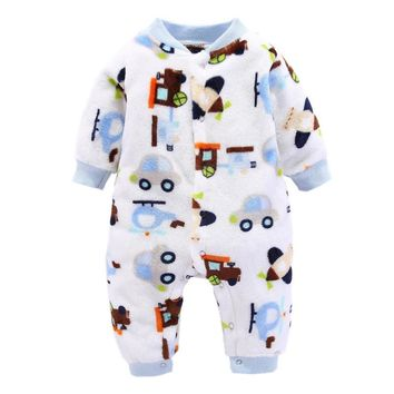 Winter Baby Boys Girls Clothes Coral Fleece Warm Infant Overall Toddler Jumpsuit New Born Costume Newborn Baby Rompers One Piece