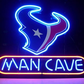 NEON SIGN board For HOUSTON TEXANS MAN CAVE LED FOOTBALL GLASS Tube BEER BAR PUB Club  Light Signs 17*14""
