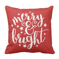 Red Merry & Bright Pillow Modern Script