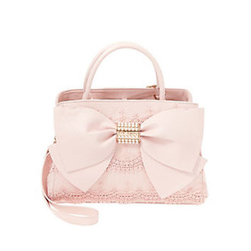 PEARL OF A GIRL LACE AND BOW SATCHEL: Betsey Johnson