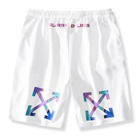 OFF-WHITE Tide brand men and women models limited gradient colorful arrow sports five points shorts white