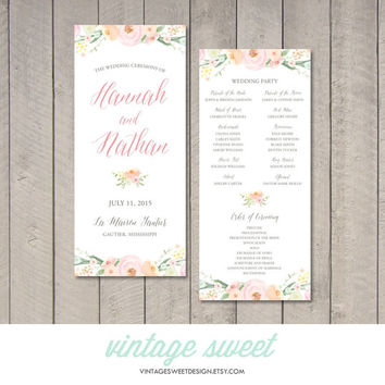Vintage Floral Wedding Program (Printable) by Vintage Sweet