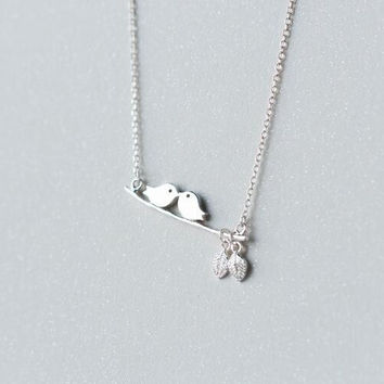925 sterling silver on the branches of the two birds necklace ALQ-D2340