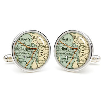 Vintage  Burlington  map cufflinks , wedding gift ideas for groom,gift for dad,great gift ideas for men,groomsmen cufflinks,
