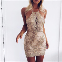 Sweetness Gold Embroidery Dress