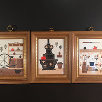 Trio of Early American Wood Framed Pictures/Spinning Wheel, Wood Stove and Hearth 1960's