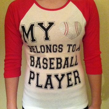 SALE My Heart Belongs to a Baseball Player, vintage screened tee, blinged baseball heart, great for little league, baseball, mom, girlfriend