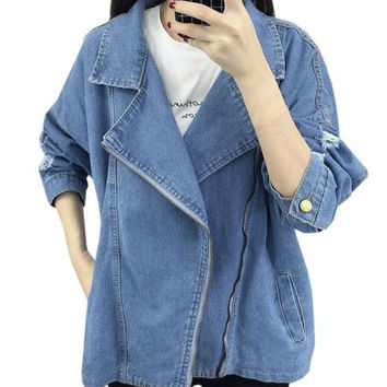 Notch Lapel Front Zip Detail Denim Jacket
