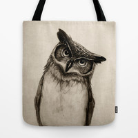 Owl Sketch Tote Bag by Isaiah K. Stephens | Society6