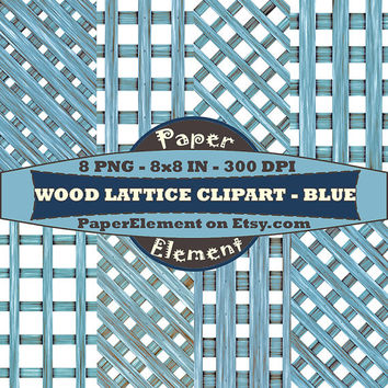 Wood Lattice Digital Clipart in Blue Instant Download Scrapbooking Backgrounds Garden Clip Art