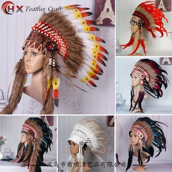 Indian Feather headdress 21inch indian savage bonnet chief native american bonnet costumes stage props