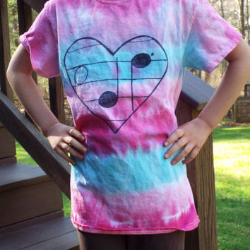 Custom Music Heart Tie Dye TShirt- Teen Shirt- Womens Tie Dye- Musical Note Shirt- Music Teacher Gift- Music Lover- Festival Concert Wear