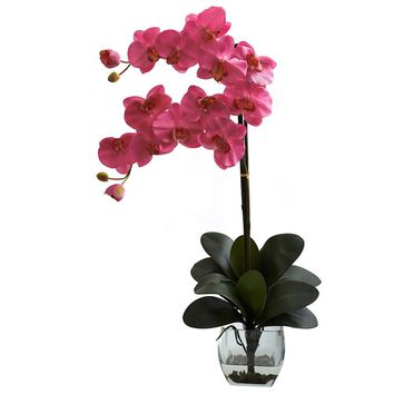 Silk Flowers -Double Phal Dark Pink Orchid With Vase Artificial Plant