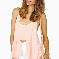 Nasty Gal Open Space Peplum Tank - Peach