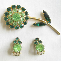 Vintage Peridot and Emerald Green Rhinestones Flower Brooch or Pin and Earrings Demi Parure Set
