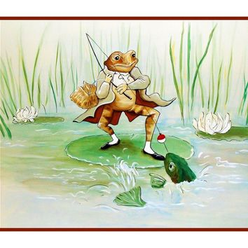Jeremy Fisher Frog Fishing inspired by Beatrix Potter Counted Cross Stitch or Counted Needlepoint Pattern