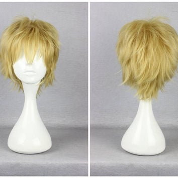 Promotion 30cm Short Blonde Kagerou Project Kano Syuya Blonde Color Mixed Cosplay Wig,Colorful Candy Colored synthetic Hair Extension Hair piece 1pcs WIG-555F