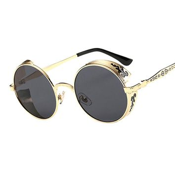 Vintage Gothic Round Steampunk Sunglasses Men Retro Unique Carving Frame Mirrored Sun Glasses For Male Cool Hip Hop