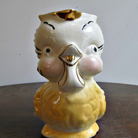 Shawnee Yellow Chick Pottery Pitcher - Unmarked - Bird, Owl, Chickadee - Mid Century Vintage Ceramic Pottery