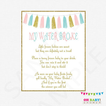 My Water Broke Baby Shower Game, Pink Blue and Gold Gender Reveal, Frozen Baby Game, Baby Shower Printables, Download, Tassels, TASPBG