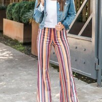 Orange Striped Pattern High Waisted Bell Bottom Flare Casual Long Pants