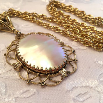 Vintage Whiting and Davis Mother of Pearl Pendant Necklace on Long Gold Chain Necklace