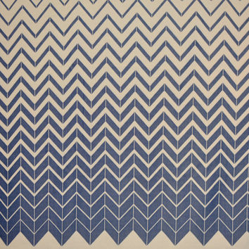 70s Double Knit Fabric Vintage Retro Yardage -  Blue White Ombré Chevron Panel