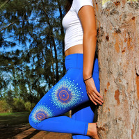 Copper Teal Mandala Fitness Yoga Leggings