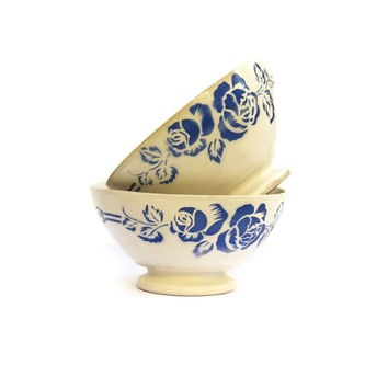 Antique French Cafe au Lait Bowls. French White and Blue Transferware Latte Bowls. Art Deco Ceramic Flower Dish. French Coffee Bowls.