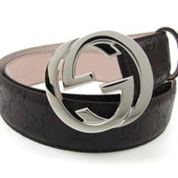 Gucci Interlocking Large G Buckle Black Signature Leather Belt size 90.36