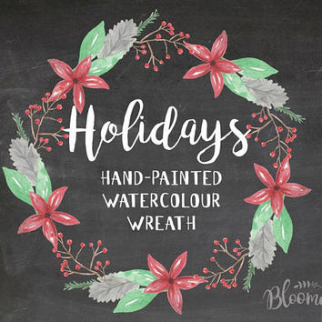 Watercolour Holidays Christmas Wreath Clipart - Hand Painted Leaves INSTANT Download PNG & JPEG Xmas Green Red Holly Berry Digital Garland